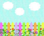 Fence spring flowers background — Vector de stock