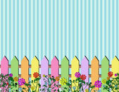 Fence spring flowers background — Stock Vector