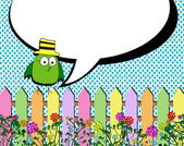 Fence spring flowers background and Blank empty speech bubbles — Vetor de Stock