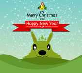 Merry Christmas And Happy New Year Landscape design in Vector work — ストックベクタ