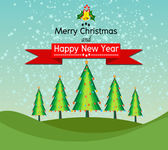 Merry Christmas And Happy New Year Landscape design in Vector work — Stock vektor