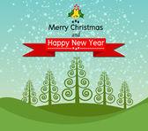 Feliz navidad y feliz año nuevo diseño del paisaje en la obra de vector — Vector de stock
