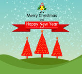 Merry Christmas And Happy New Year Landscape design in Vector work — Stock Vector
