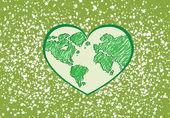 Amar o mundo e salvar o símbolo do vetor de terra — Vetor de Stock