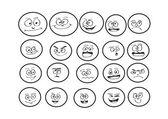 Cartoon faces Set Vector art illustration — Stock Vector