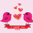 Stock Vector: Love birds for Wedding card