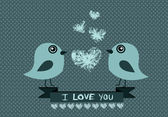 Love birds for Wedding card — Vector de stock