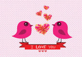 Love birds for Wedding card — 图库矢量图片