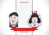 Cartoon hand drawn wedding couple wedding idea design — Stock Vector