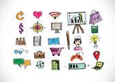 Main doodle affaires doodles — Vecteur
