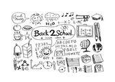 Hand tekenen doodle terug naar school icons — Stockvector