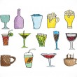 Stock Vector: Drink beverage icons set
