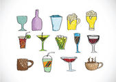 Drink beverage icons set — Stock Vector