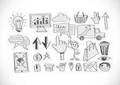 Hand sketch doodle Business doodles icon — Vecteur