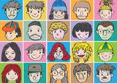 Set of various cartoon faces illustration — Stock Vector