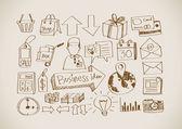 Garabatos de negocio del doodle mano — Vector de stock