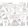 Hand drawn Birthday doodles — Vettoriale Stock #40952641