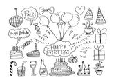 Hand drawn Birthday doodles — Stock Vector