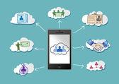 Obliczanie koncepcja z sieci kontaktów — Wektor stockowy