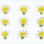 Hand drawn light bulbs — Stock Vector