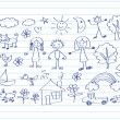 Children's drawings idea design — Stockvector