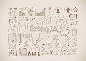 Hand doodle Business icon set — 图库矢量图片