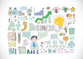 Hand doodle Business icon set — Vector de stock