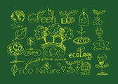 Doodles ECO vector set — Stok Vektör