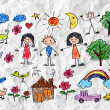 Kids drawing happy family picture — 图库照片