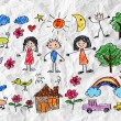 Kids drawing happy family picture — Stockfoto