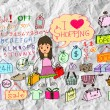 I love shoping doodles — Stock Photo