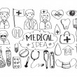 Stok Vektör: Seamless pattern with medical icons