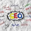 Stock Photo: Seo IdeSEO Search Engine Optimization on crumpled paper