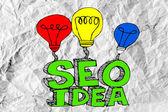 Seo Idea SEO Search Engine Optimization on crumpled paper — Stock Photo