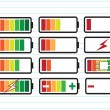 Battery charge level indicators — Vector de stock #41739289