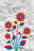 Flowers design on crumpled paper — Stock Photo