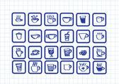 Café xícara chá ou conjunto copa ícone coleção design — Vetorial Stock