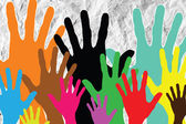 Colorful silhouette hands background design — Stock Photo
