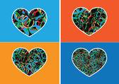 значок сердца и сердца символ линии абстрактные идеи дизайна — Cтоковый вектор