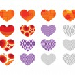 Heart abstract icons signs and symbols set for your works — Stock Vector #44610123