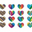 Heart abstract icons signs and symbols set for your works — Stock Vector