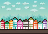 Little Town Townhouses  and home design — Vector de stock