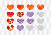Heart abstract icons signs and symbols set  on transparent backg — Stock Vector
