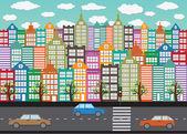 Colorful Cityscape  Town city building design — Stock Vector