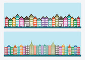 Town cities silhouette icon set — Stock Vector