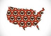 Map of USA in idea design — Stock Vector