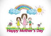 Tarjeta del día de las madres felices con familiares dibujos animados en la ilustración — Vector de stock