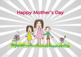 Карта день счастливыми матерями с семьи Мультфильмы иллюстрации — Cтоковый вектор