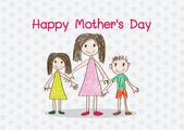 Happy mothers day card with family cartoons in  illustration — Stock Vector