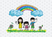Kids drawing happy family picture — Stock Vector